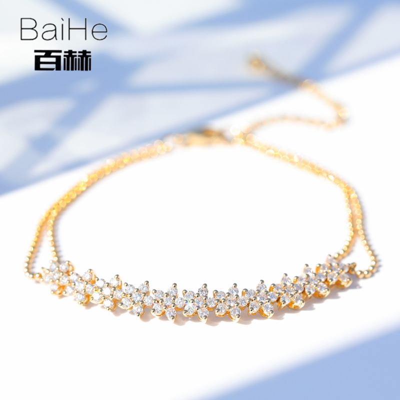 BAIHE Solid 14K Yellow Gold 1ct Certified H/SI 100% Genuine Natural Diamonds Engagement Women Trendy Fine Jewelry GIFT Bracelet цена