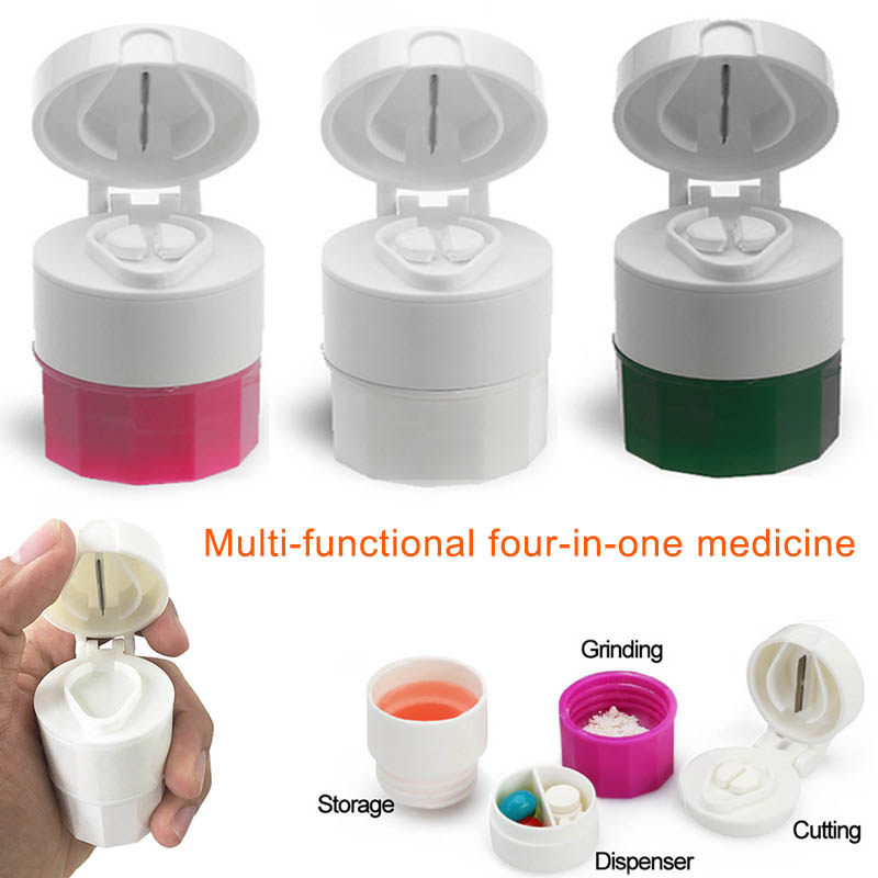 1 Piece 4 Layer Pill Box Tablet Paper Cutter Grinder Separator Pressure Divider Pill Box Storage Box Health ToolRJ99