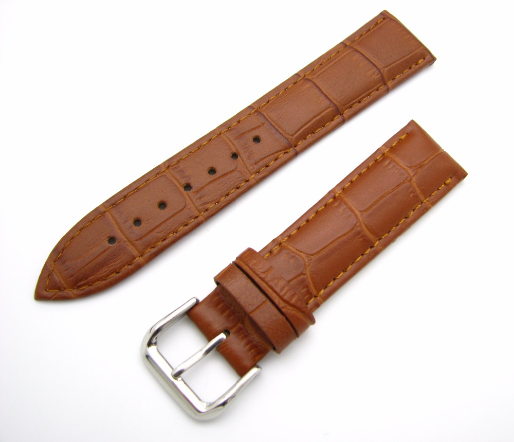12 14 16 18 20 22 24mm New Men Women Genuine Leather Light Brown Luxury Alligator Grain Watch Band Strap Belt Silver Pin Buckle 2016 top women lady genuine leather women s watchband popular white silver pin clasp 12 14 16 18 19 20 22 24mm watch band strap