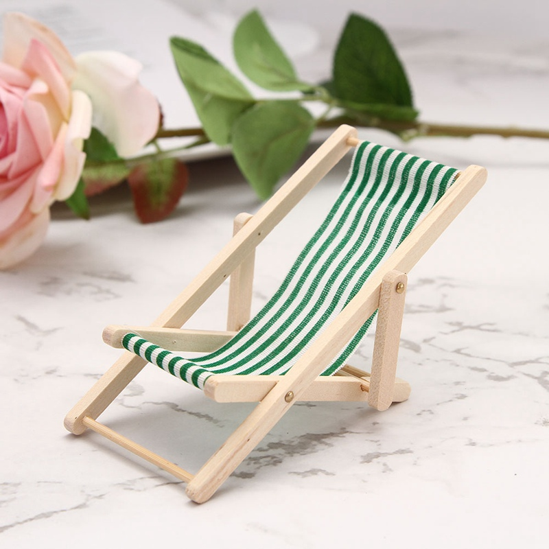 купить Mini Beach Lounge Chair Miniature Chairs Garden Decoration Furniture Folding Stripe Deck Chair DIY Home Decor