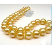 women gift 17INCH 14K GOLD CLASP AAA NATURAL Round 10-11mm south sea golden pearls Necklace
