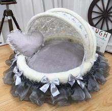 New luxury pet meow princess bed and dog camp pad lovely house with delicate lace cradle beautiful round