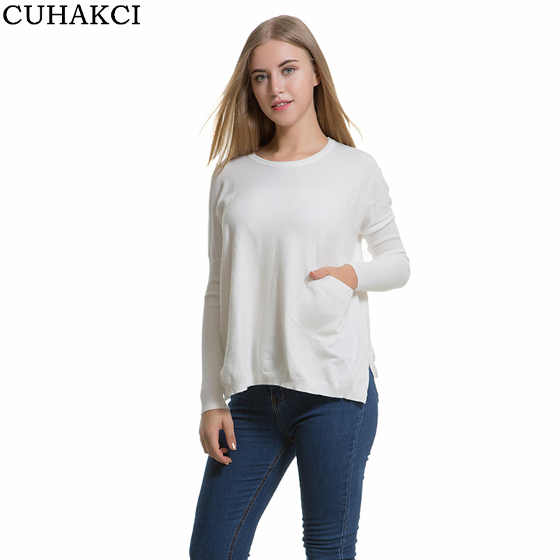 CUHAKCI Knitted Oversized Sweater Pockets Pullover Women Sweaters Side Split Autumn Pull Femme 2017 Christmas Sweater O-Neck New