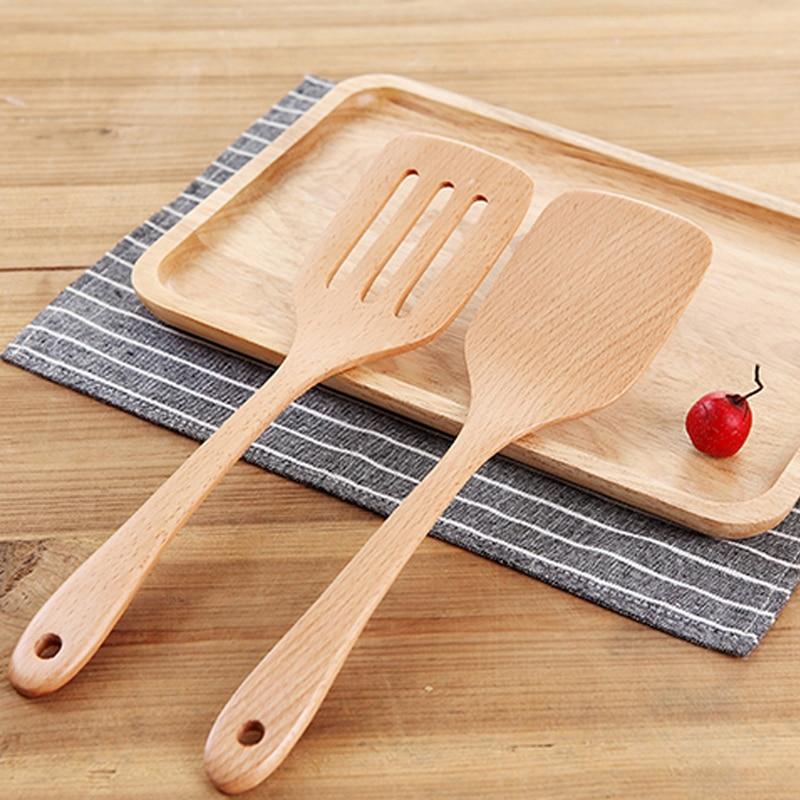 2 أجزاء خشبية تيرنر ملعقة مجموعة - المطبخ ، الطعام وبار
