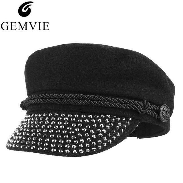 576c7c8659ffbc Europe Style Beret Cap Military Hat for Women Punk Rhinestone Adjustable Newsboy  Cap Solid Color Woolen Blend Stylish Berets