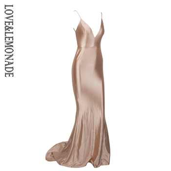 Love&Lemonade Nude Deep V-Neck Open Back Slim Flash Material Long Dress LM1098