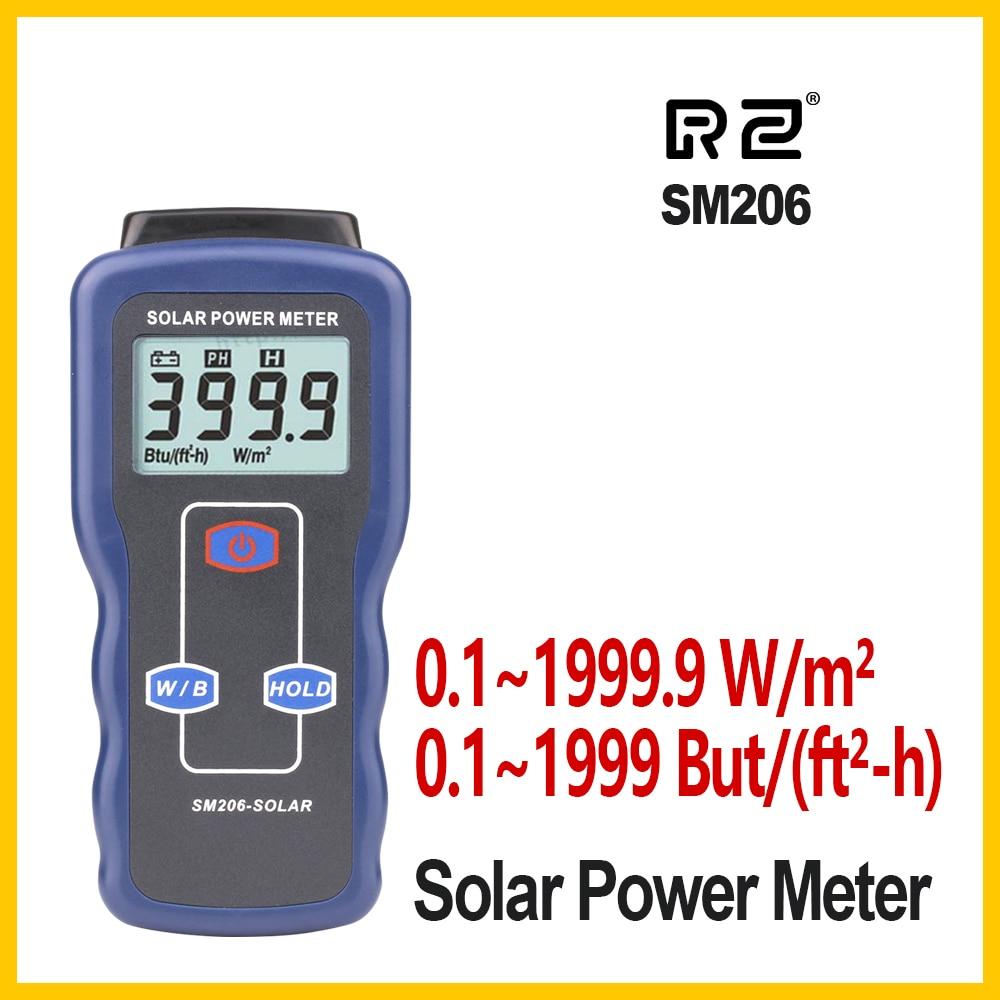 RZ Solar Power Meter Light Meter Solar Radiation Tester Optical Solar Research Glass Light Intensity Data Peak Hold SM206