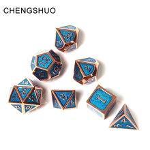 Chengshuo rpg кости беспокоить многогранных комплекты из металла Подземелья и Драконы цинковый сплав синий игральные кости с цифрами узор настольные игры d20 10 8 12