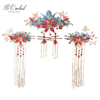 PEORCHID Blue Red Traditional Phoenix Hair Accessories Wedding Hair Pins Chinese Brides Headpiece Crystal Butterfly Head Jewelry