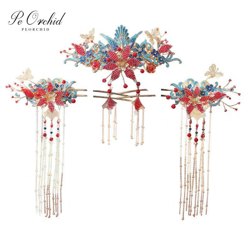 Peorchidée bleu rouge traditionnel Phoenix cheveux accessoires mariage épingles à cheveux mariées chinoises casque cristal papillon tête bijoux