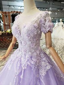 Image 5 - LS00017G 紫色のイブニングドレス半袖 o ネックビーズアップリケレースのロングイブニングドレス 2019 vestido デ 15 各公報デデビュタント