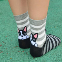 1 пара/лот,, японский и корейский стиль, женские красивые хлопковые носки, носки с изображением собаки, носки с рисунками из мультфильмов на осень и зиму