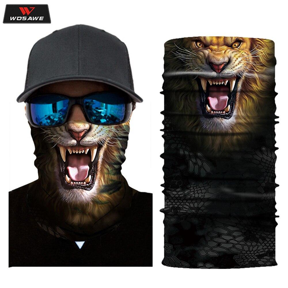 WOSAWE Motorcycle Outdoor Head Scarf Neck Warmer Skull Face Mask Ski Balaclava Headband Scary Animal Halloween Bike Face Shield