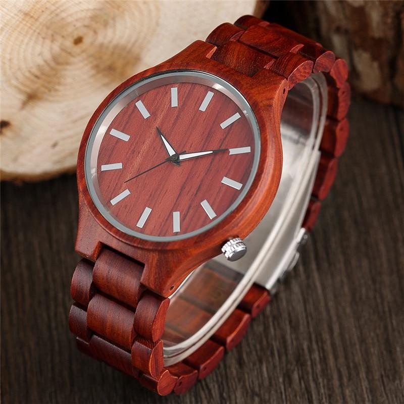 100% Природа Красного Сандалового дерева Полный Деревянный Браслет Часы Простые мужские Ручной Деревянные Кварцевые часы Наручные Часы Бамбука Reloj de madera
