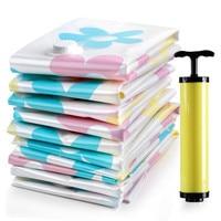 7pcs/set Thickened Vacuum Storage Bag Vacuum Compressed Bag with Hand Pump Reusable Blanket Clothes Quilt Storage Bag Organizer