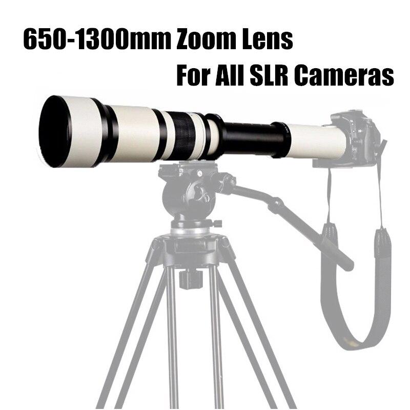 Télescope monoculaire avec bague d'adaptation pour appareil photo reflex téléobjectif Zoom manuel pour prise de vue longue portée 650-1300mm F8.0-F16