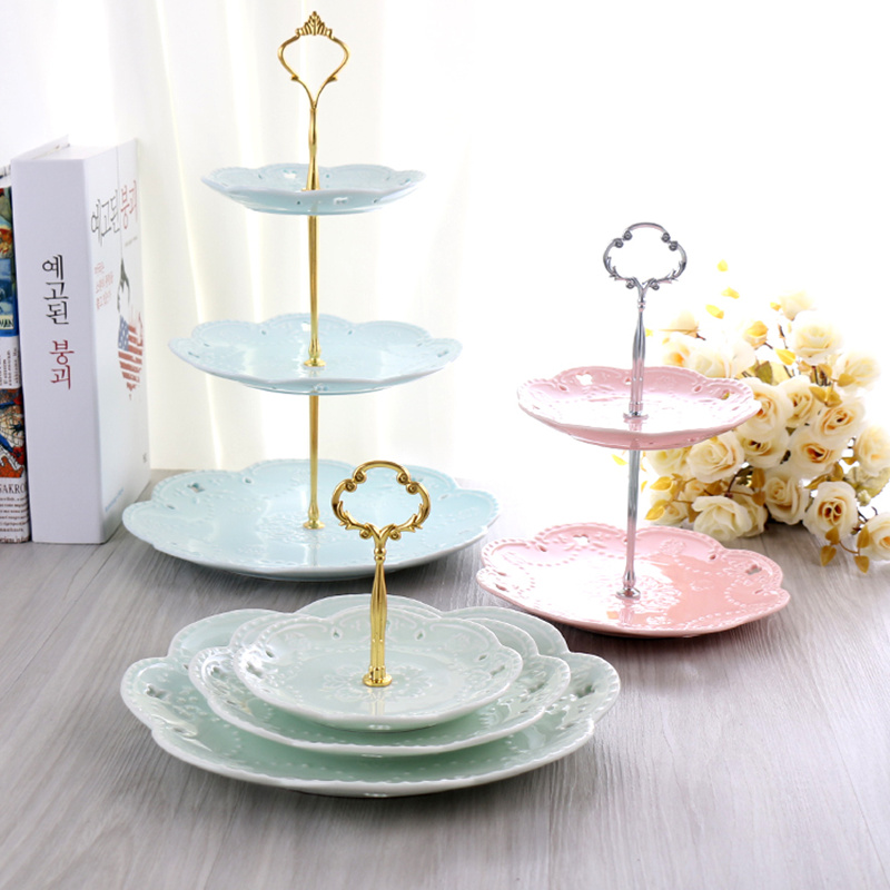 3 Tier Thicken Metal  Cake  Stand(Plate Not Include) Dessert Pastry Tray Handle Cupcake Fitting Hardware Rod Party Supplies