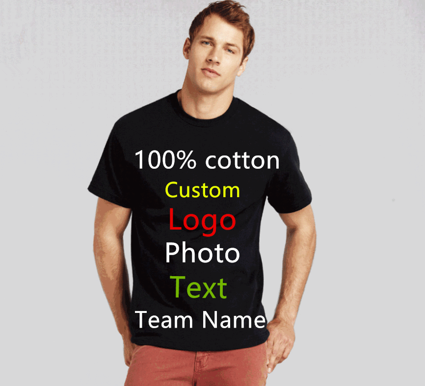 19 colors Oversized Men Custom Uniform Company Team   T  -  shirt   Photo Logo Text Printed   T     shirt   Punk Hip Hop Mens Tees Top tshirt