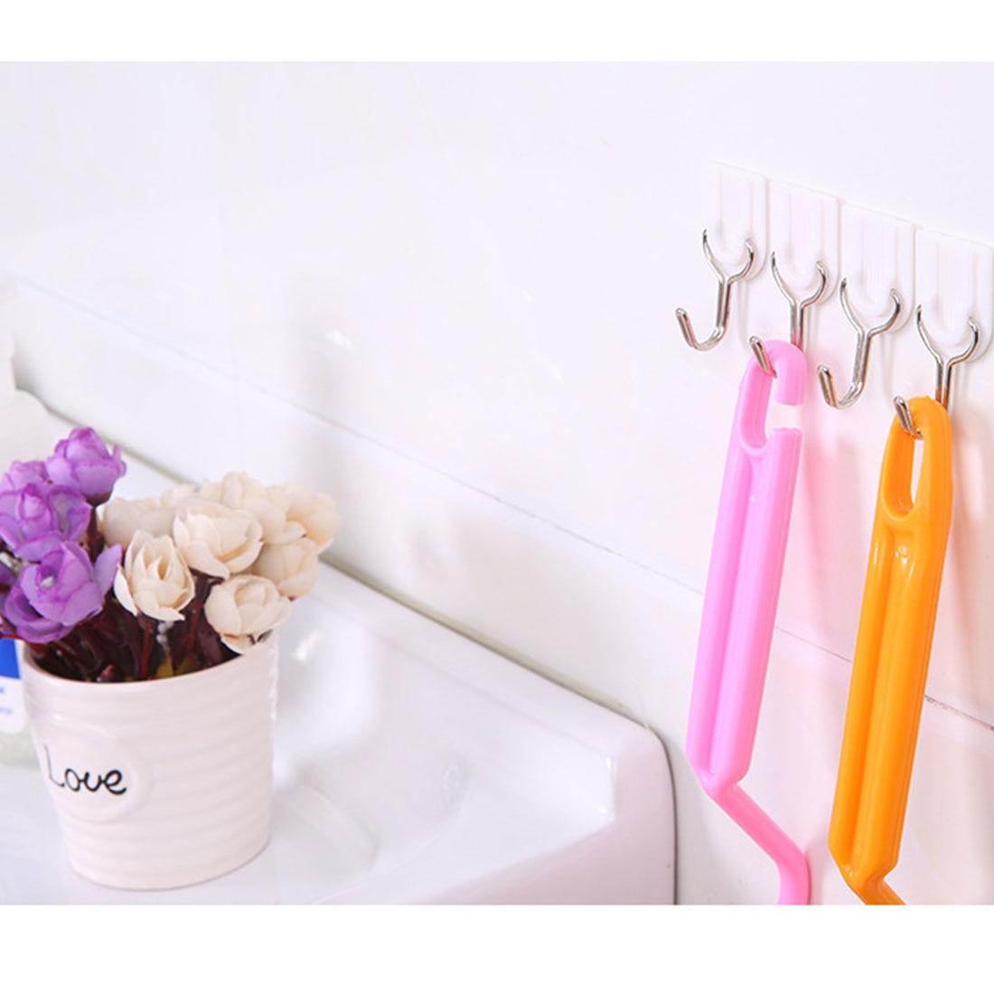 New 6 PCS White Bathroom Door Hooks Family Wall Hanger Hats Bag Key Adhesive Plastic Hook Coat Wall Hooks