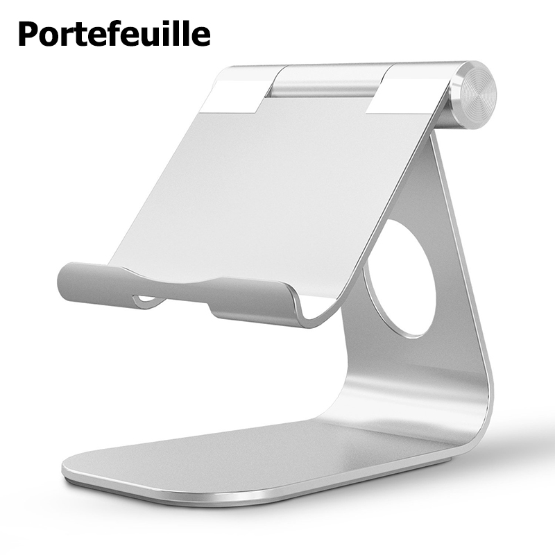 Portefeuille Tablet Stand Aluminum Adjustabl Holder For iPad Pro 10.5 Mini Air 2 iPhone X 7 8 6 6S PLus E-readers Bed Lazy Stand car styling chrome side upper edge window trim set for ford focus mk3 sedan 2012 2013