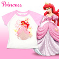 Camisetas de marca para Meninas Dos Desenhos Animados Branca de Neve Cinderela Ariel Princesa Tees Tops Casual T Caçoa a Roupa Do Bebê T-shirts para Meninas