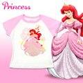 Marca T-shirts para Niñas de Dibujos Animados Blancanieves Cenicienta Ariel Princesa Camisetas Bebé Tops Camisetas Casual Ropa Niños Camisetas para Chicas
