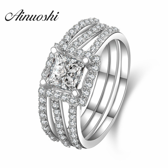 AINUOSHI 4 Prongs 925 Sterling Silver 1 Carat Simulated Sona Ring Lady Engagement Party Wedding Gift Silver Bridal Ring Set