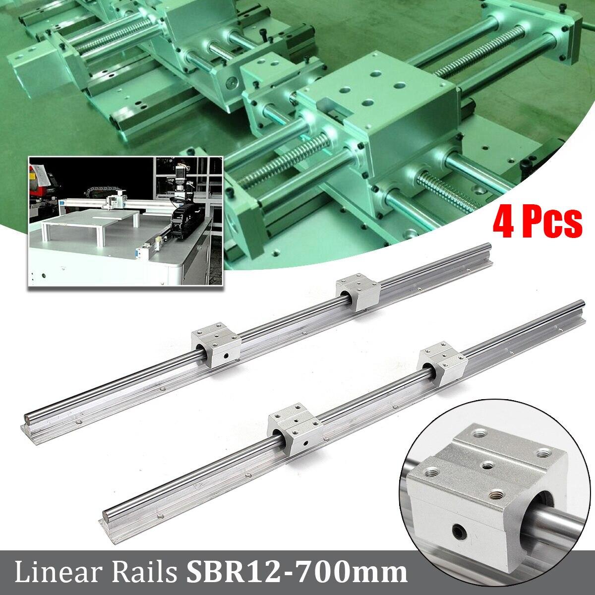 4PCS SBR12-700mm 12MM Linear Bearing Rail Slide Guide Kit Shaft 4X SBR12UU Blocks Linear Guides Set Hardware Length 70cm
