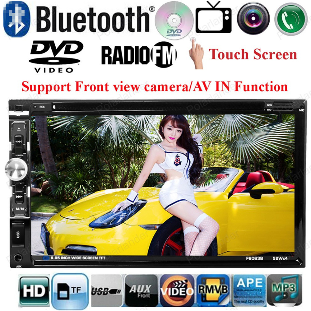 2din Car DVD MP4 MP5 Player Support Front/ Rear Camera/ Steering Wheel Control/FM/USB/TF Card Touch Screen Bluetooth 6.95 inch