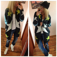 2015 Autumn Cardigan Stars Pattern Print Casual Fashion Women Long Sweater Loose Slim Warm Knitted Cardigan