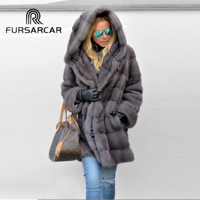 FURSARCAR 2019 New Style Real Mink Fur Coat Women Winter Genuine Leather Fur Coat With Hood Luxury Mink Fur Jacket Hot Sale