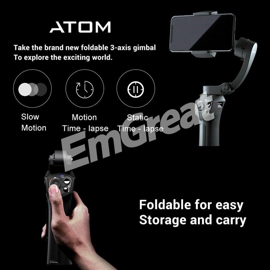 Stabilisateur de cardan de poche pliable à 3 axes Snoppa Atom pour iPhone Smartphone GoPro et charge sans fil PK lisse 4 - 4