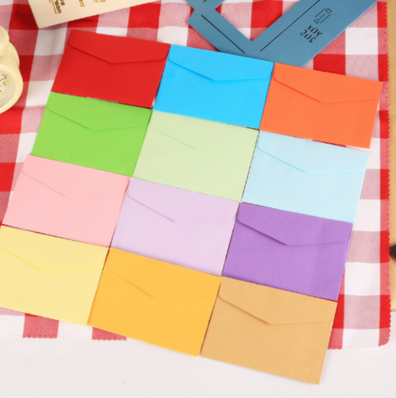 10pcs Small Paper Envelopes 4 Candy Colors Postcard Wedding Gift Invitation Envelope Office Stationery Paper Bag