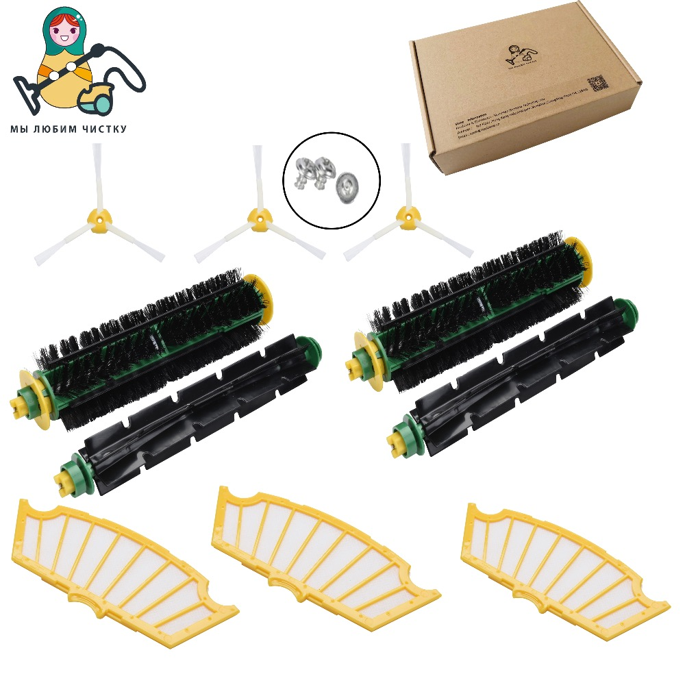 CLEAN DOLL filter side brush bristle flexible beater for iRobot Roomba 500 510, 530, 535, 540, 560, 570, 580 cleaner parts bristle brush flexible beater brush fit for irobot roomba 500 600 700 series 550 650 660 760 770 780 790 vacuum cleaner parts