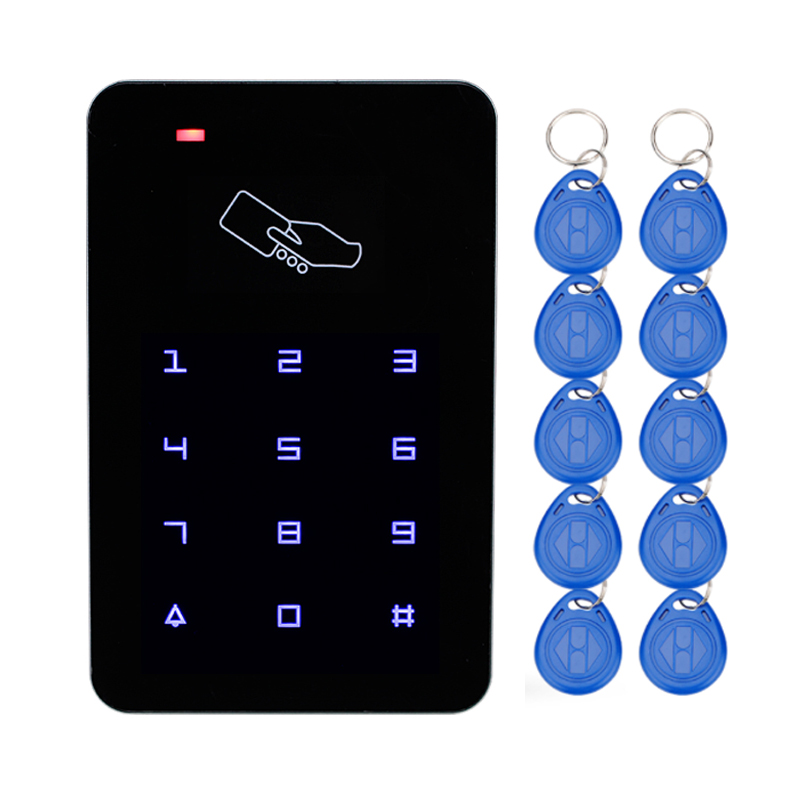 RFID Access Controller Reader Touch screen Keypad 125KHz Smart Keyless EM Lock For Door Access Control System with 10 keychains lpsecurity 125khz id em or 13 56mhz rfid metal door lock access controller with digital backlit keypad ip65 waterproof