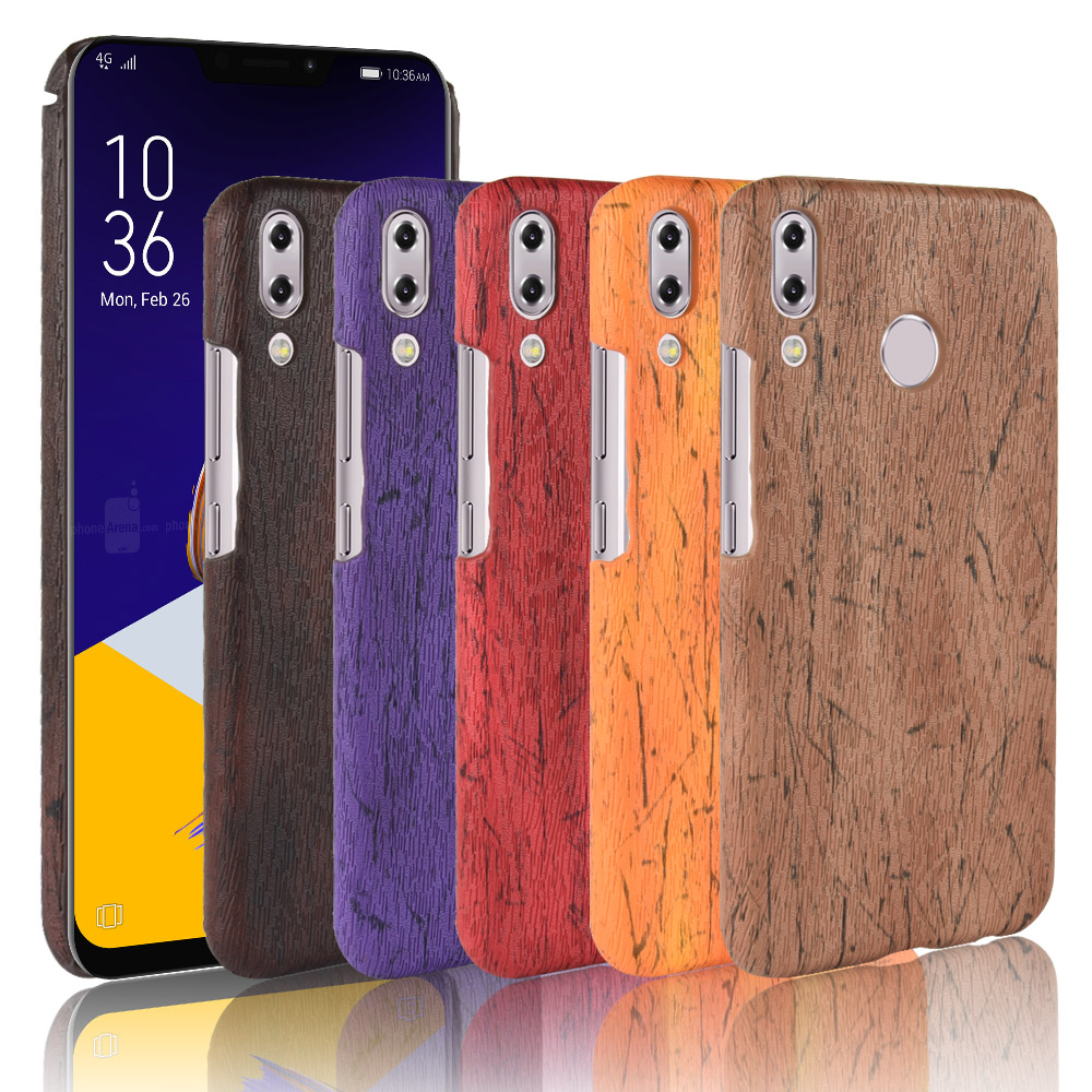 For Asus Zenfone 5Z ZS620KL Case Hard PC+PC Leather Retro wood grain Phone ASUS_X00QD Wood