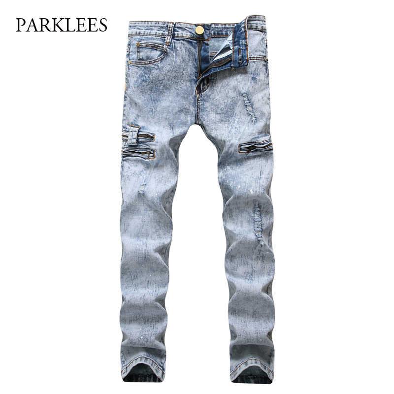 Light Blue Ripped Jeans Men 2017 Hi Street Washed Cotton With Side Pocket Mens Skinny Jeans Casual Hip Hop Slim Fit Jeans Homme