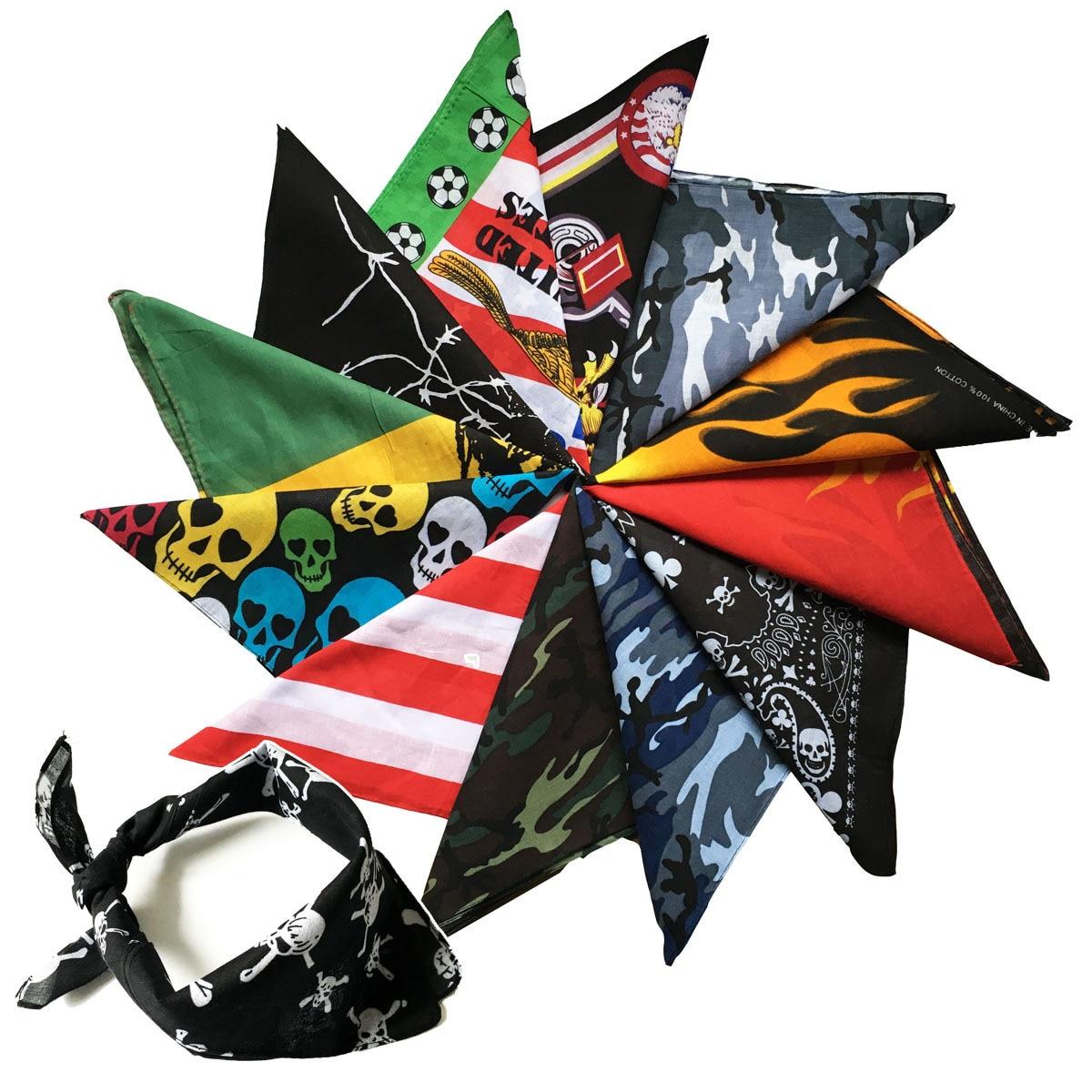 100% Cotton  Hip Hop Skull  Black Paisley Bandana Bandanna Headwear/Hair Band Scarf Neck Wrist Wrap Band Headtie For Women/Mens