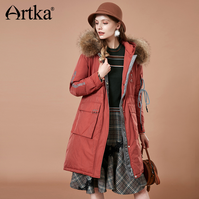 ARTKA 2018 Winter Women Thick Long   Down   Jacket Fashion Fur Collar Hooded 90% White Duck   Down     Coat   Parka Mujer YK10183D