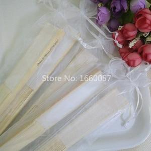"""Image 5 - [Auviderin] 100Pcsสีขาวแต่งงานพัดลมส่วนบุคคลสีขาวของขวัญกล่อง """"ขอบคุณ"""": พับพัดลมของขวัญกระเป๋า"""