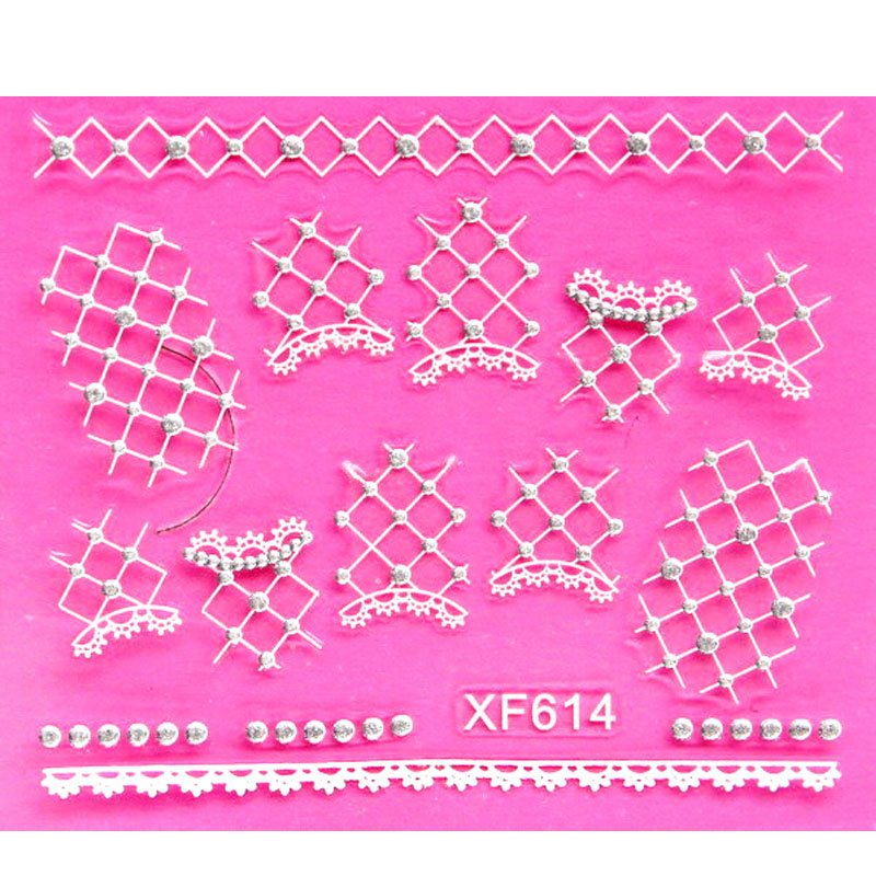 sweet 3D white pattern design Water Transfer Nails Art Sticker decals lady women manicure tools Nail Wraps Decals XF614