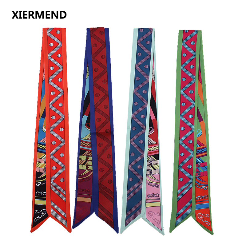 2018 Twill Narrow Long Scarf Geometric Fashion Woman Tie Bag Handle Ribbon Hairband Shawl Scarf Headscarf Skinny Scarves