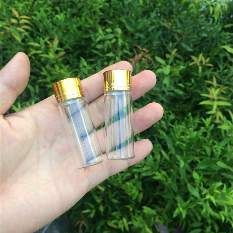 14ml Empty Glass Bottles Aluminium Screw Golden Cap Transparent Clear Liquid Gift Container Wishing Bottle Jars