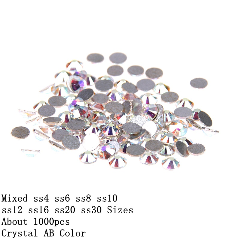 ss4-ss30 Mixed Flatback Round 2016 Strass Glass Crystal AB Rhinestones Non Hotfix For 3D Nails DIY Design Stickers Decorations 1pack colorful mixed size nail art rhinestones shiny ab crystal non hotfix flatback glass 3d diy gems manicure nails decorations