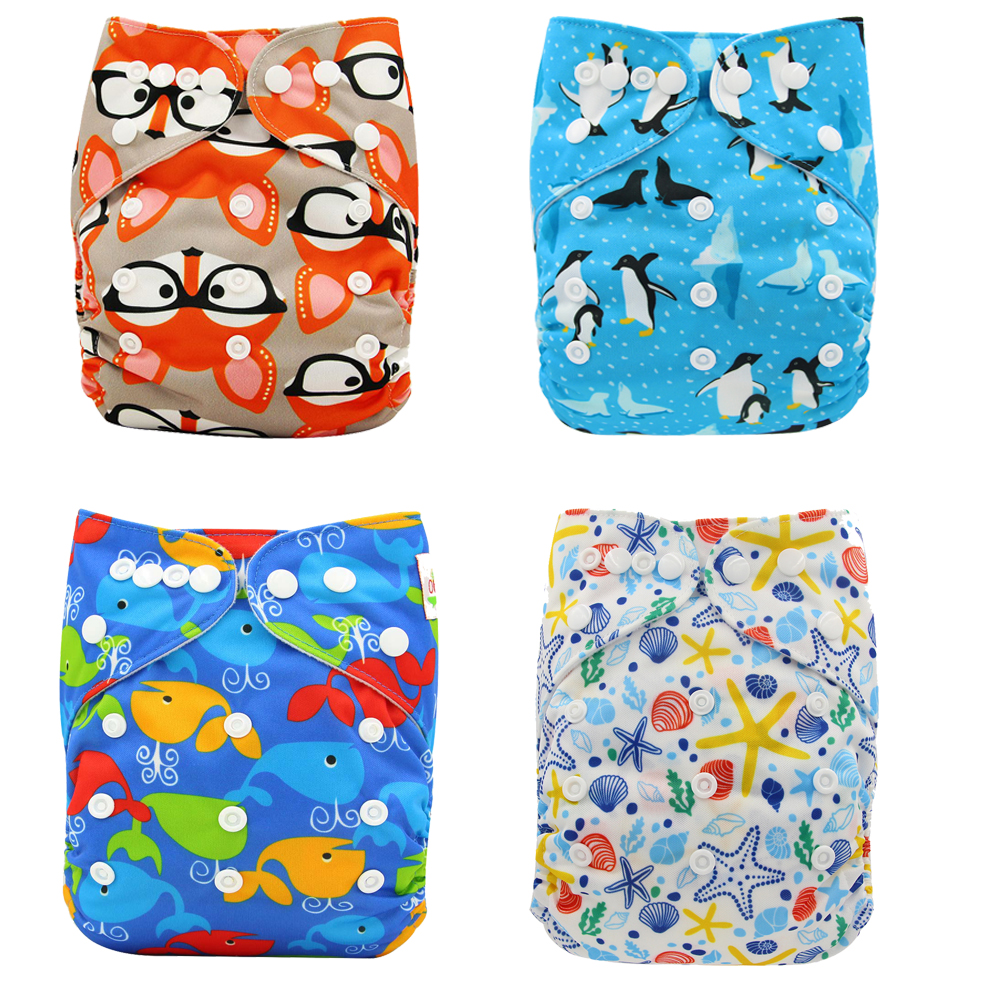 Pocket Diaper Cover Couche Lavable Newborn Ohbabyka Diapers Reusable Nappies Animal Pattern Unicorn Baby Cloth Diapers