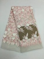 Fancy Party Dress Good 3d Flowers Quality French Tulle Lace Fabric Pink Net Mesh Embroidery Lace