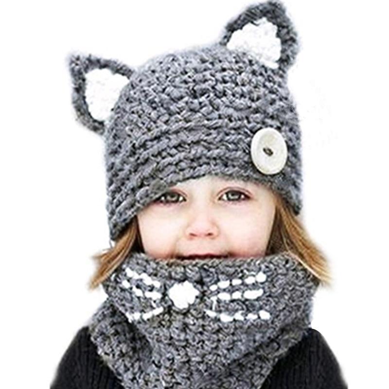 2 Stücke Winter Kinder Warme Gestrickte Beanie Hüte Schals Set 2018 Kinder Nette Katze Ohr Kappe + Ring Schal Sets Für Jungen Mädchen Warme Set Neueste Mode