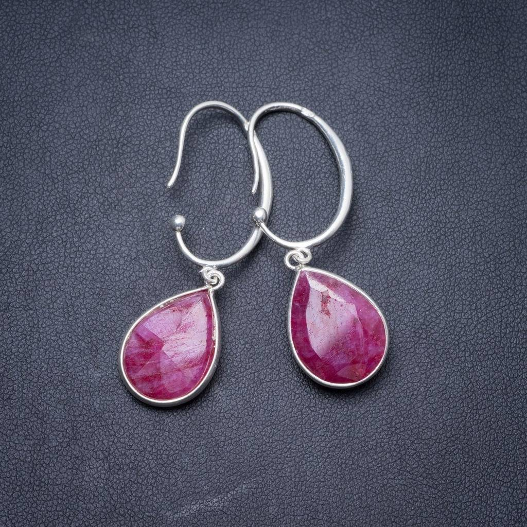 цены Natural Cherry Ruby Handmade Unique 925 Sterling Silver Earrings 2