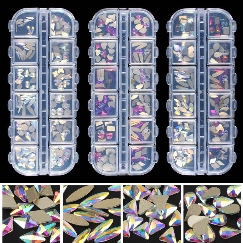 Moda cristal ab/arco-íris arte do prego forma mistura fantasia em forma de caixa de pedras de vidro colorido para 3d decorações da arte do prego livre shippin