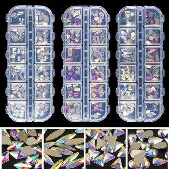 Moda kryształ AB Rainbow Nail Art Mix kształt fantazyjny kształt w pudełku kolorowe szklane kamienie do 3D paznokci dekoracje artystyczne darmowa wysyłka tanie i dobre opinie TENGJIAN CN (pochodzenie) Luźne dżetów Cyrkonie Klej Na Mix shape crystal AB Rainbow Szkło flatback Odzieży glue on